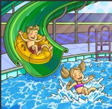 卡通游泳人物