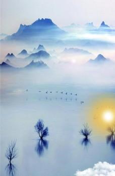淡藍色傳統山脈風景