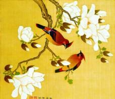 余稚花鸟-玉兰双鸟