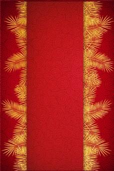 红底烫金针叶植物边框电商淘宝背景H5