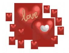 手绘情人节红色心形气球插画