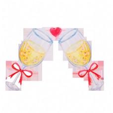两杯黄色饮料插画