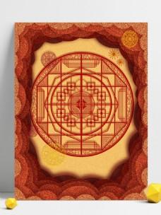 纯原创红色中国风剪纸窗花背景