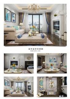 暖色温馨欧式客厅装饰装修效果图