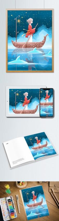 晚安世界唯美治愈插画夜晚湖中划船的女孩