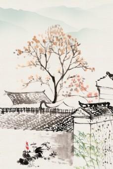 中国风水墨农家小院电商淘宝背景H5