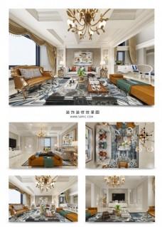 暖色温馨客厅装饰装修效果图3DMAX