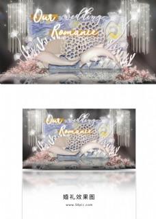 简约海洋王国海豚珊瑚贝壳霓虹灯婚礼效果图