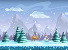 卡通雪景素材
