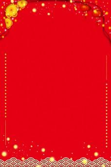 古风新年红金边框电商淘宝背景H5