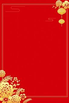 古风红色烫金边框电商淘宝背景H5