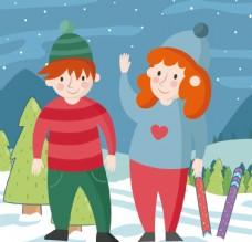 可爱冬装儿童