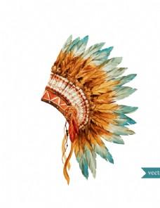 水彩绘印第安酋长帽
