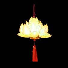 中国风手绘金色莲花灯免费下载
