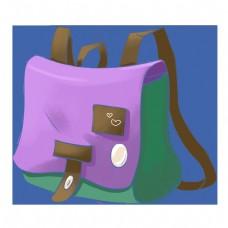 紫色手绘创意书包元素