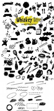 黑白可爱卡通 生活用品绘画
