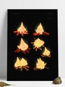 三维立体写实节庆火焰篝火元素