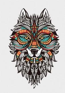 矢量狼纹身图案
