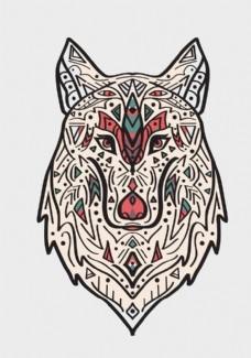 矢量纹身狼图案