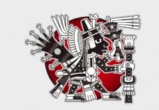 矢量抽象纹身图案