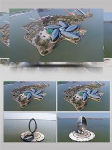 4K航拍滴水湖素材