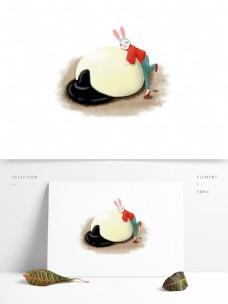 手绘可爱卡通兔子和大汤圆