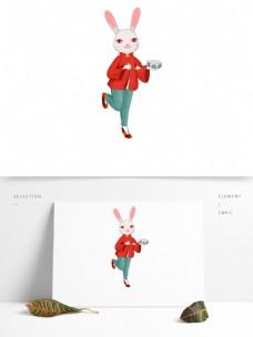 手绘可爱卡通兔子和汤圆