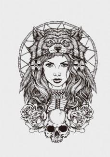 矢量美女纹身图案