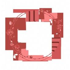 卡通玫瑰圆形小清新边框