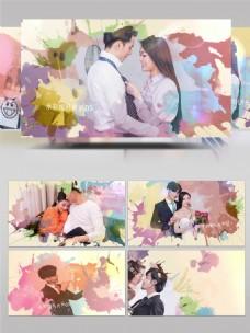 优雅水彩水墨婚礼相册展示AE模板