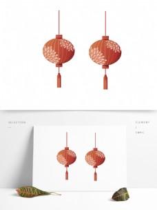 2个红色灯笼新年元素设计