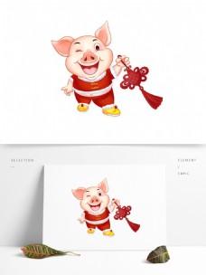 提着中国结的猪2019新年元素