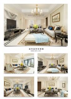 欧式客厅装饰装修效果图3DMAX
