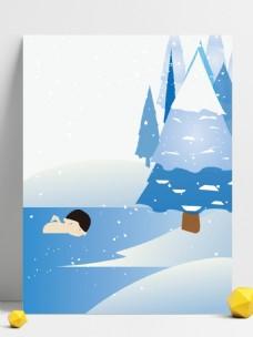 唯美冬至节气冬泳背景设计
