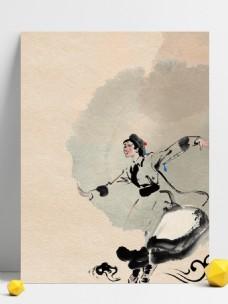 复古民族舞蹈宣传背景设计