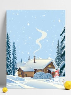唯美冬季雪地雪景背景