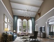 美式客厅效果图3D模型