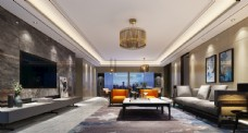 现代客厅效果图3D模型