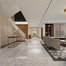 现代简约客厅过廊玄关3D模型