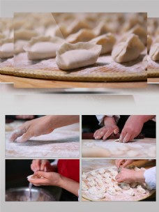 春节包饺子视频素材