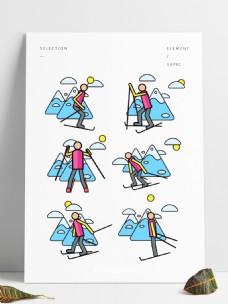 冬季雪山滑雪人物元素