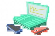 金融蓝色的笔记本电脑插画