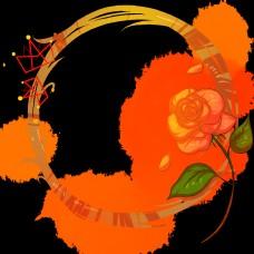 女王节玫瑰花边框插画