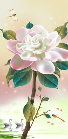 高清立体花朵玄关壁画