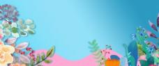 小清新花卉春季新品上市背景