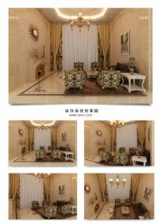 大气暖色温馨欧式客厅装饰效果图