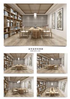 儒雅简约新中式茶室效果图