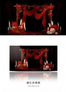 红色复古梦幻森系婚礼效果图
