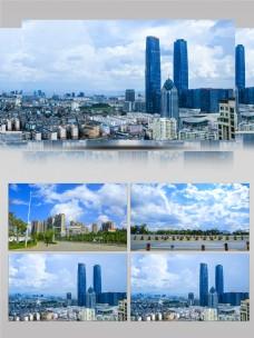 城市空镜蓝天白云延时