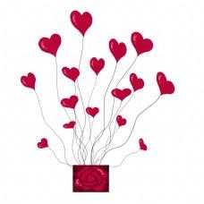 情人节红色的心形气球